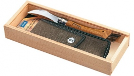 Wood Box with Mushroom Opinel knive N° 8 + Sheath