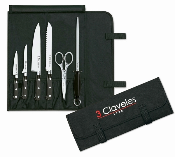 Knife bag with 6 pièces 3 Claveles Forgé