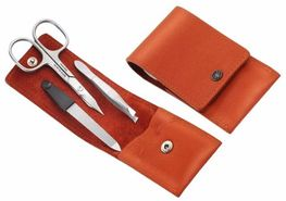Manicure set Dovo 3 items orange leather