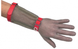 Stainless steel protective glove 5 fingers with 15 cm cuff