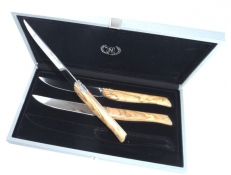 Coffret 3 couteaux a steak Nieto Linea Lunch olivier