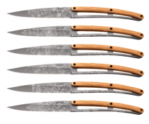 Set 6 steak knives Deejo Blossom, Olive wood, Titanium finish