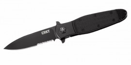 Pocket knife CRKT Bombastic Black with Triple Point Serrations K345KKS