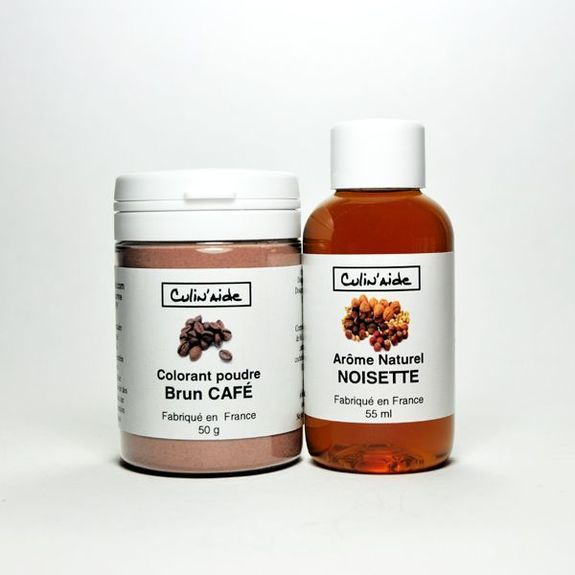 Natural Hazelnut Flavor + Coffee Brown Colorant