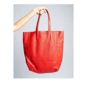 LEATHER SHOPPING BAG MARLOWE - RED