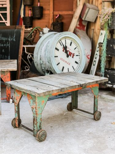 Table basse metal et bois industrielle