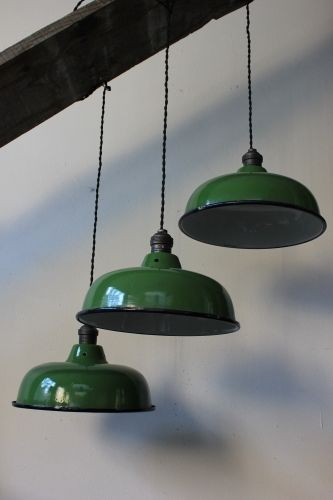 abat jour emaillee lampe industrielle vert bouteille