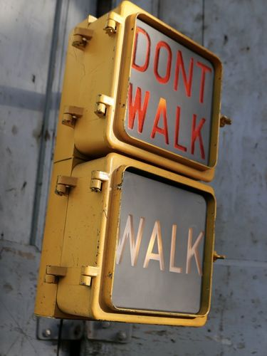 New York feu dont walk americain vintage USA jaune d'origine