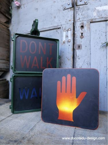 Plaque de feu don t walk americain vintage USA / main stop