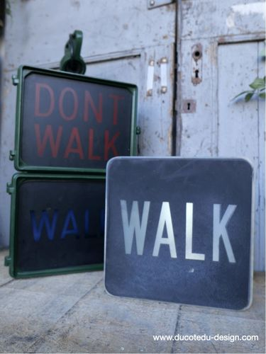 Plaque de feu don t walk americain vintage USA / walk blanc