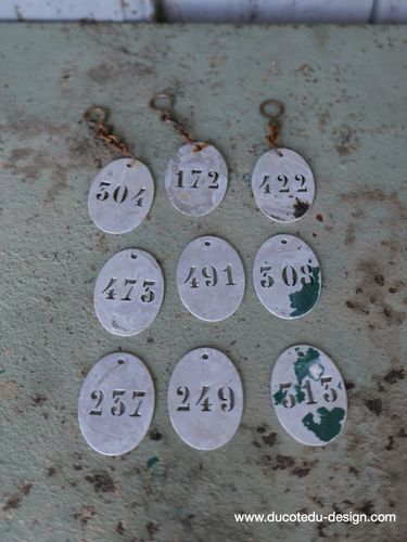 lot de 9 pieces - numero metal pour meuble metier stock vintage / lot 2