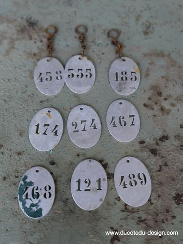 lot de 9 pieces - numero metal pour meuble metier stock vintage / lot 3