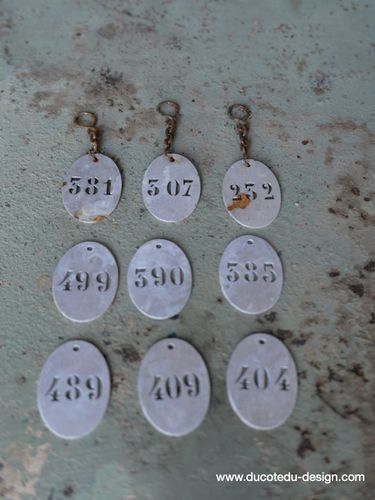 lot de 9 pieces - numero metal pour meuble metier stock vintage / lot 5