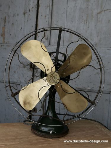 ancien ventilateur general electric industriel 1920 USA grand modele
