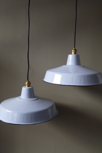 grand abat jour emaillee lampe industrielle bleu