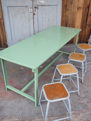 Table militaire metal bureau industrielle peinture epoxy verte