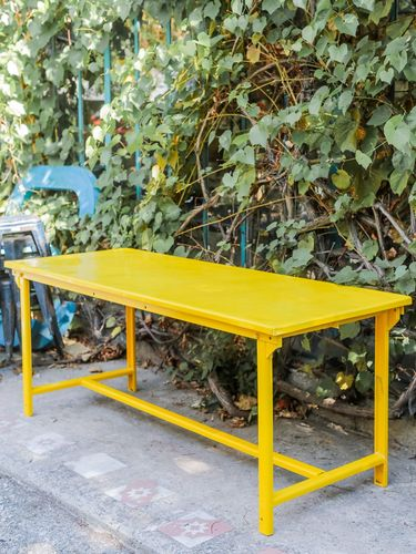 Table militaire metal bureau industrielle peinture epoxy jaune