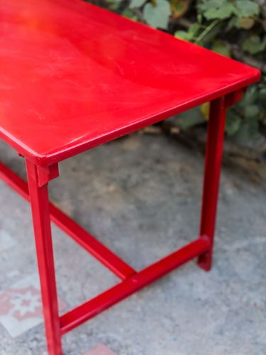 Table militaire metal bureau industrielle peinture epoxy rouge