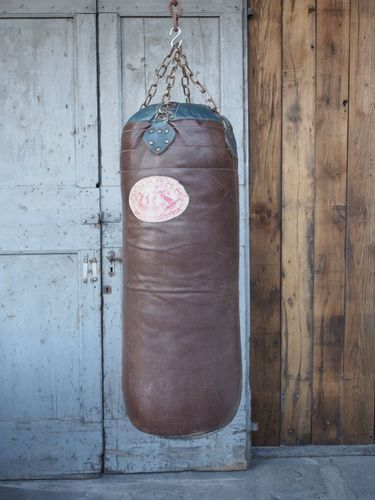 ancien puching ball boxe ballon cuir Bardou sports Paris