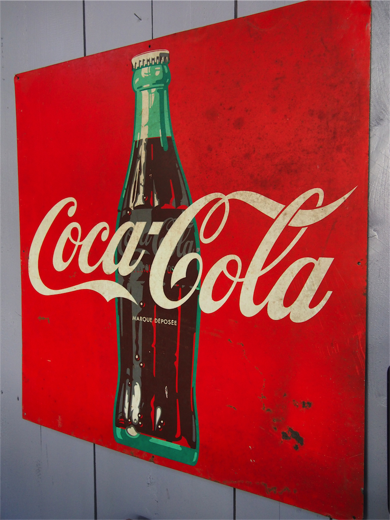 grande plaque publicitaire metal coca cola dans son jus. Black Bedroom Furniture Sets. Home Design Ideas