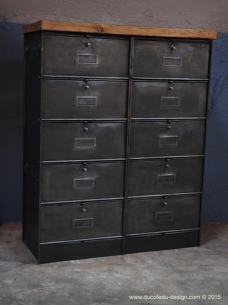 ancien meuble 10 casiers industriel a clapet roneo. Black Bedroom Furniture Sets. Home Design Ideas