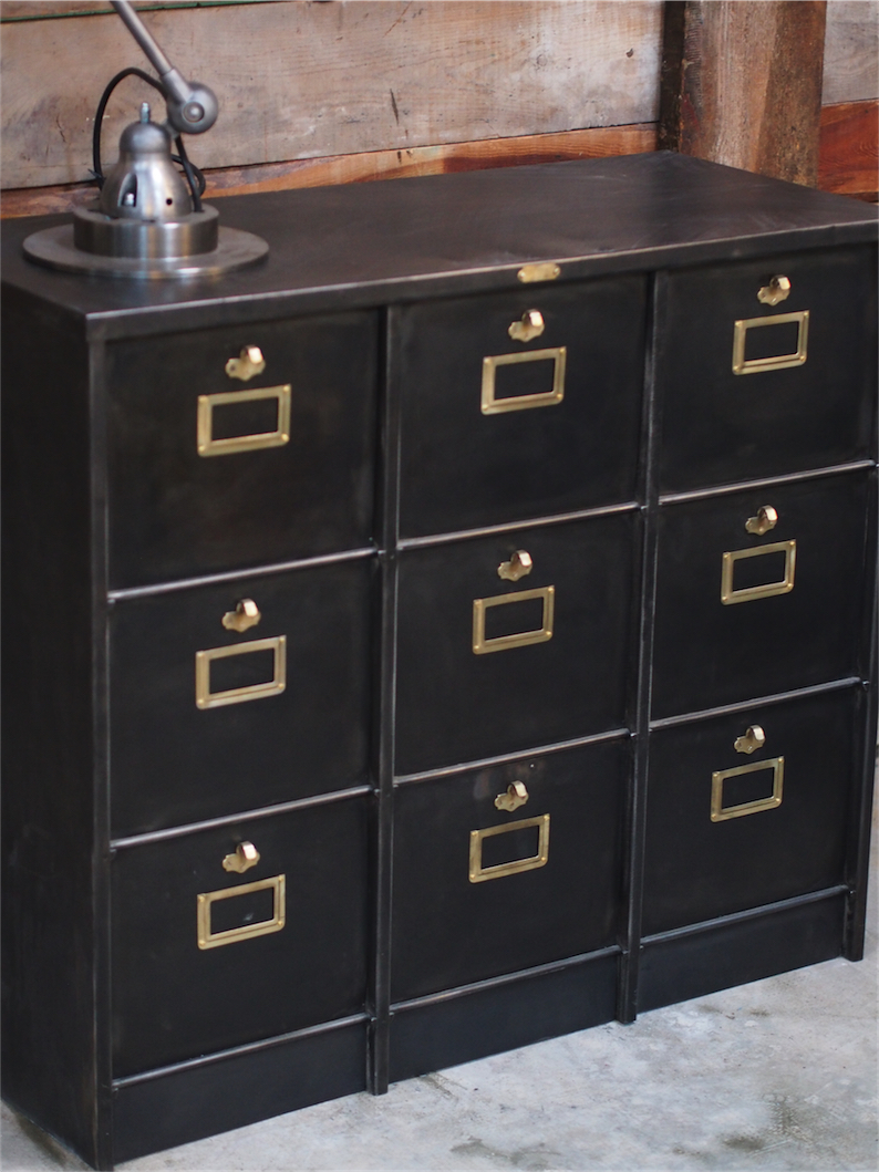 meuble console morgan 9 grand casiers industriel clapet plateau metal. Black Bedroom Furniture Sets. Home Design Ideas
