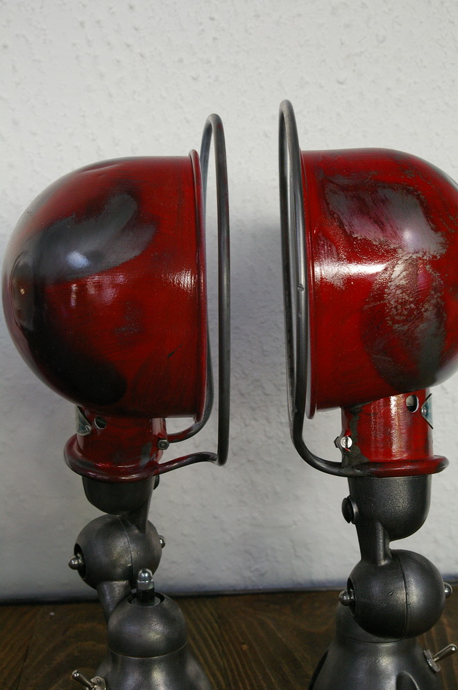 unique lampe jielde 1 paire applique finition vintage industrielle rouge. Black Bedroom Furniture Sets. Home Design Ideas