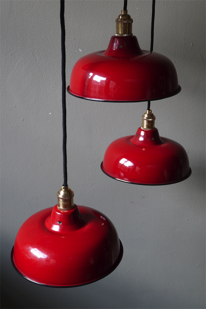 rare abat jour emaill lampe industrielle rouge. Black Bedroom Furniture Sets. Home Design Ideas
