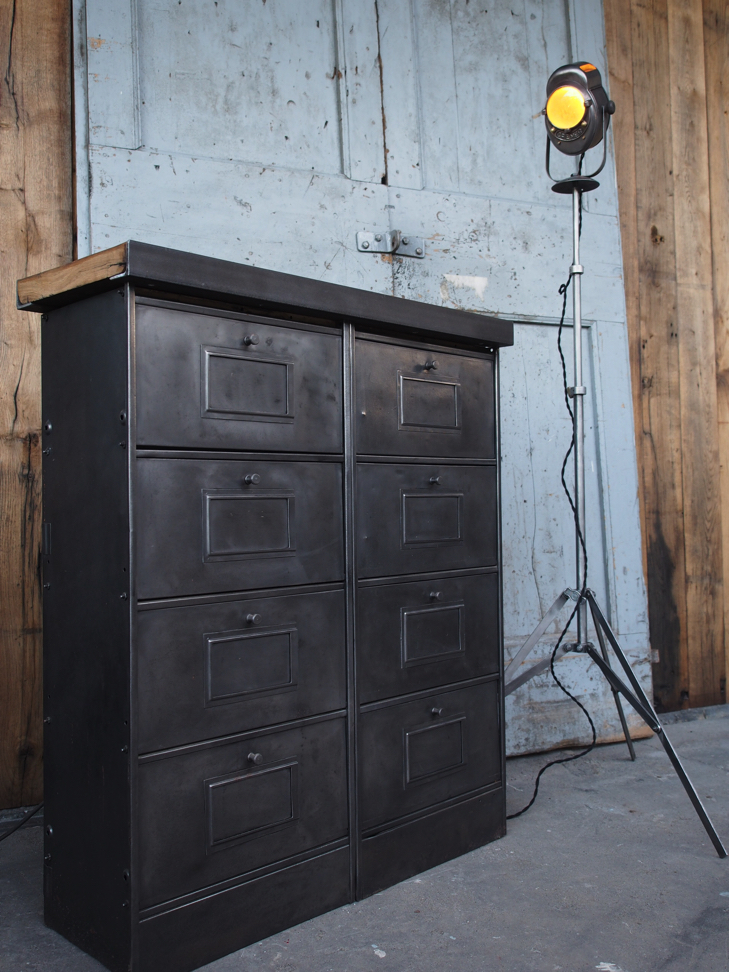 meuble console 8 casiers industriel clapet plateau chene massif. Black Bedroom Furniture Sets. Home Design Ideas