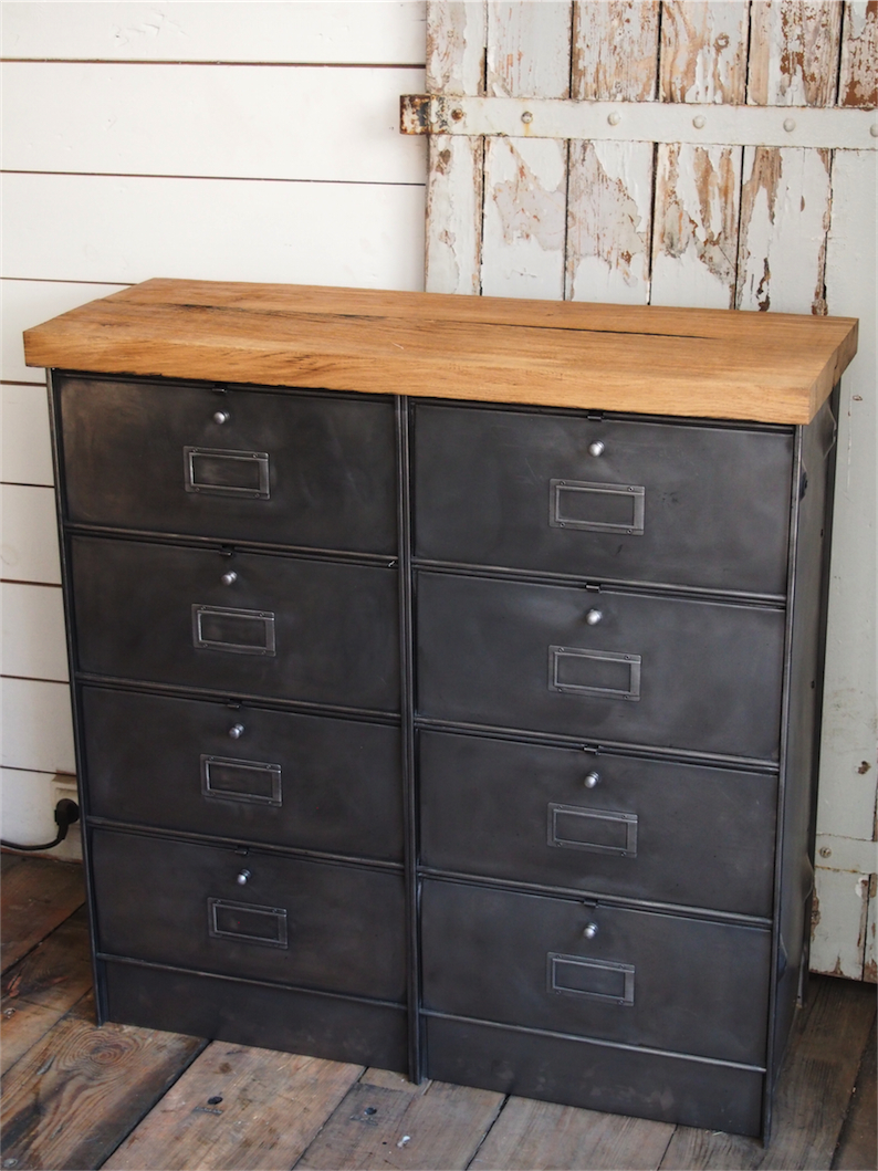 meuble console 8 casiers industriel clapet roneo plateau chene massif. Black Bedroom Furniture Sets. Home Design Ideas