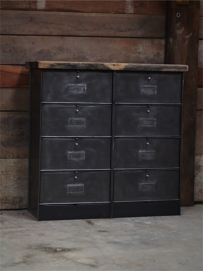 meuble console 8 casiers industriel clapet roneo plateau. Black Bedroom Furniture Sets. Home Design Ideas
