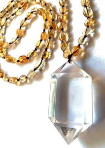 COLLIER CITRINE, pointe de cristal