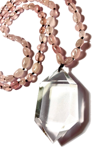 COLLIER QUARTZ ROSE, pointe de cristal