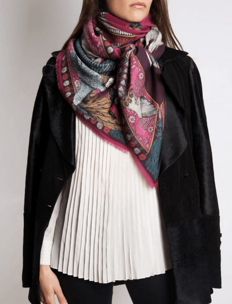 Grand foulard carré Sabina Savage 90/90 cm - 100 % twill de soie
