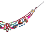 "Collier Ayala Bar ""Rowan passion"" fuchsia, vert, bleus, or"