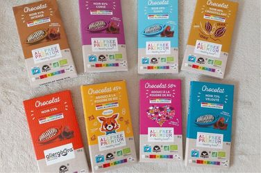 Tablettes de chocolat BIO vegan Fairtrade zéro allergène ALLFREE PREMIUM