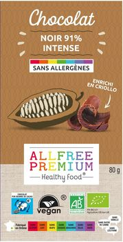 Tablette de chocolat noir 91% INTENSE sans allergènes BIO vegan Fairtrade Exquidia : 80g