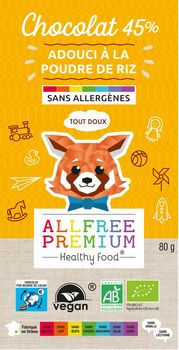 TABLETTE ALTERNATIVE au lait (sans lait) BIO vegan sans allergènes Allfree premium : 80 grammes