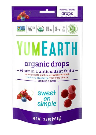 DROPS FRUITS ROUGES (grenade, fraise, myrtille, cerise) BIO vegan sans allergènes Yumearth : 93.5g