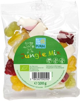 Bonbons BIO fruités JUNGLE MIX BIO sans allergènes Pural : 100g