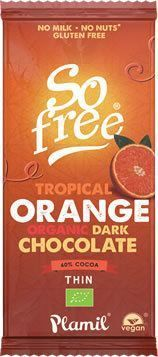Tablette de chocolat noir à l'ORANGE BIO vegan Plamil So Free : 80g