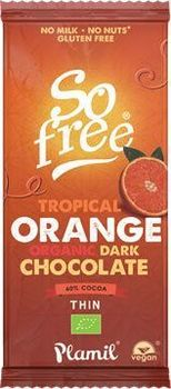 Tablette de chocolat noir à l'ORANGE So Free BIO vegan Plamil : 80g