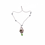 Georges & Rosalie old pink doll necklace green pearl