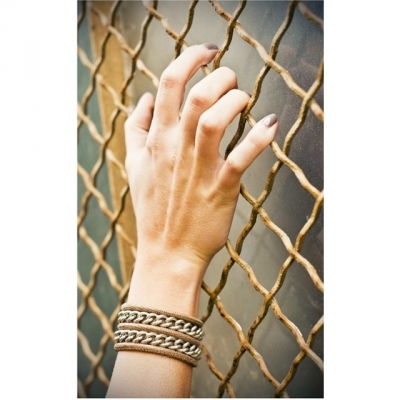 CORALIE DE SEYNES bracelet Mixte silvered brown leather