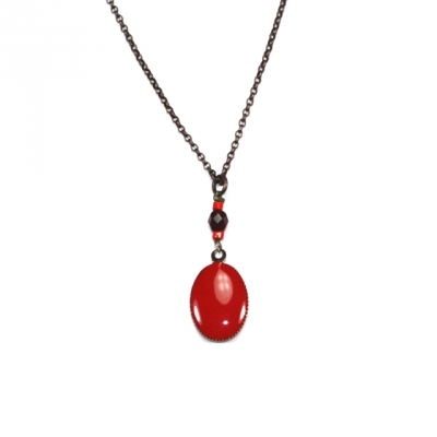 Lilakacemi Collier Petit Ovale rouge