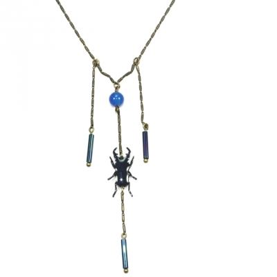 Lina Poum necklace Scarabeus night blue