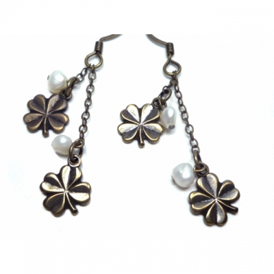Eva Gozlan earrings bronze clover