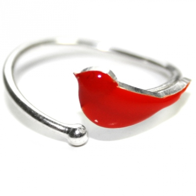 Emmanuelle Biennassis ring Bird silver/all red