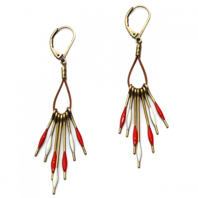 Theodora Gabrielli earrings Phenix cuir/piment
