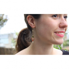 Theodora Gabrielli earrings Phenix cuir/ivoire